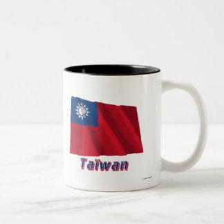 Français de Drapeau Taïwan avec le nom en Tasse À Café