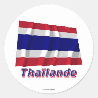 Français de Drapeau Thaïlande avec le nom en Sticker Rond