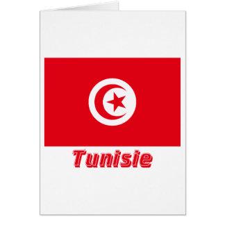 Français de Drapeau Tunisie avec le nom en Carte De Vœux
