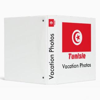 Français de Drapeau Tunisie avec le nom en