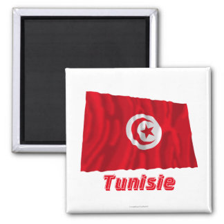 Français de Drapeau Tunisie avec le nom en Magnet Carré