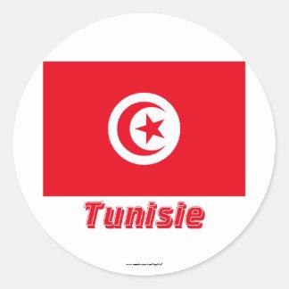 Français de Drapeau Tunisie avec le nom en Sticker Rond