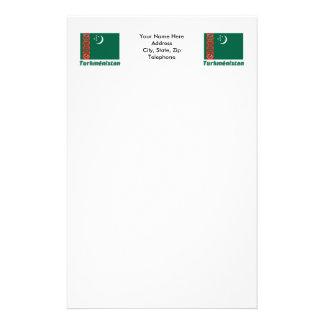 Français de Drapeau Turkménistan avec le nom en Papier À Lettre Customisé