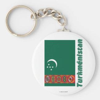 Français de Drapeau Turkménistan avec le nom en Porte-clés