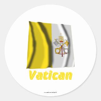 Français de Drapeau Vatican avec le nom en Autocollant