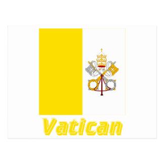 Français de Drapeau Vatican avec le nom en Cartes Postales