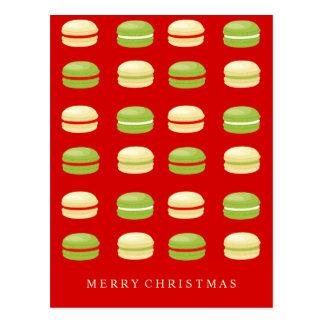 Français rouge Macarons de Noël vert et blanc Carte Postale