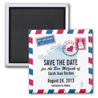 France Air Mail Bar Mitzvah Save the Date Magnet