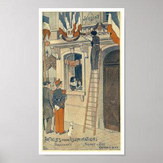 France Bastille Day 14 July 1900 vintage Poster