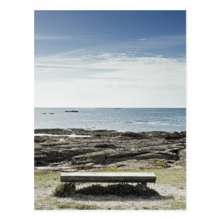 France, Brittany, Morbihan Department, Bench, Postcard