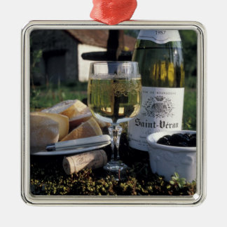 France, Burgundy, Chablis. Local wine and Metal Ornament