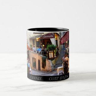 France, Cannes,  Cote' d'Azure Two-Tone Coffee Mug