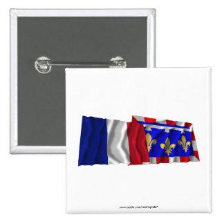 France Centre waving flags Pinback Button