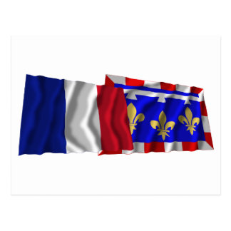 France & Centre waving flags Postcard