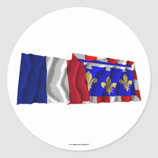 France & Centre waving flags Round Sticker