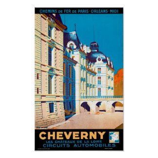 France Cheverny Restored Vintage Travel Poster