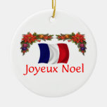 France Christmas Double-Sided Ceramic Round Christmas Ornament