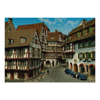 France, Colmar, Alsace, half timbered houses Poster