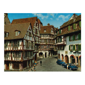 France, Colmar, Alsace, retro postcard