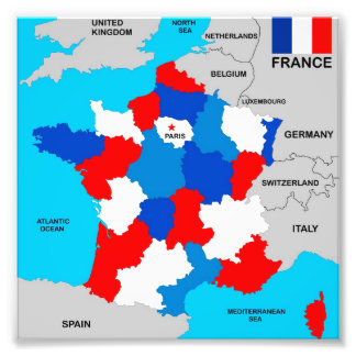 france country political map flag photo print