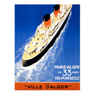 France Cruise Vintage Travel Poster Restored Postcard