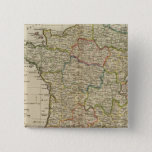 France Divided into Circles and Departments 2 2 Inch Square Button