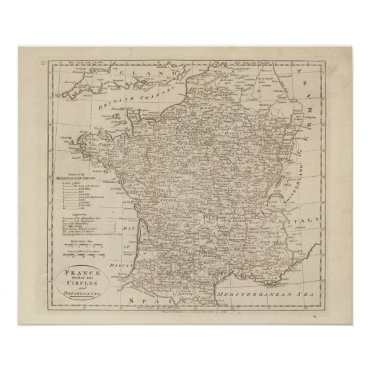 France Divided into Circles and Departments 2 Poster