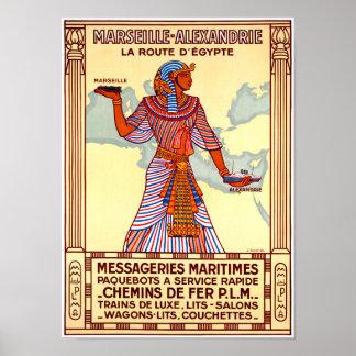 France Egypt Restored Vintage Travel Poster