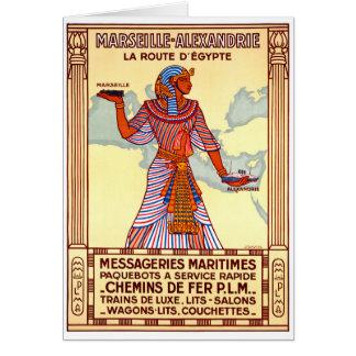 France Egypt Restored Vintage Travel Poster Card