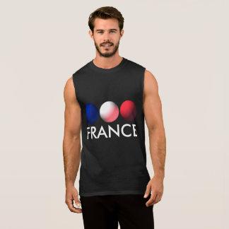 France Flag Blue, White and Red Spheres Sleeveless Shirt