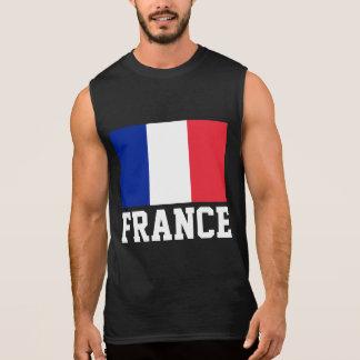 France Flag Customizable White Text Sleeveless Shirt