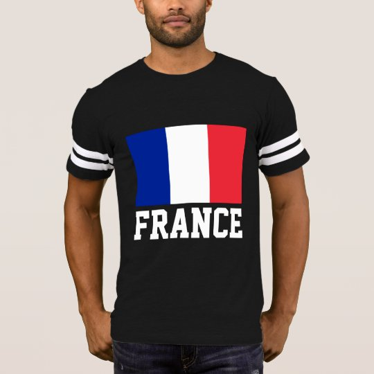 France Flag Customizable White Text T-Shirt