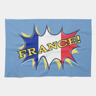 France Flag Kapow Comic Style Star Kitchen Towel