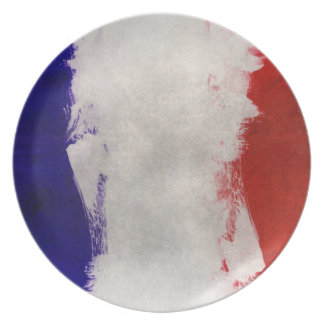 France Flag Paint Grunge Design Plate