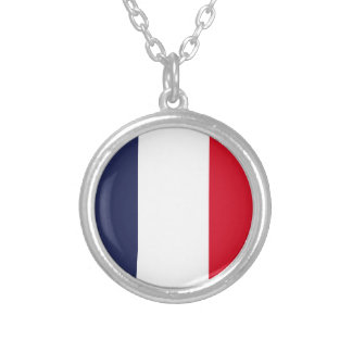 France flag silver plated necklace