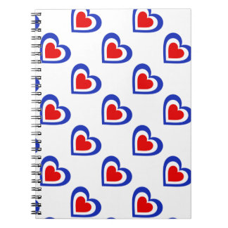 France/French flag-inspired Hearts Personnalised Notebook