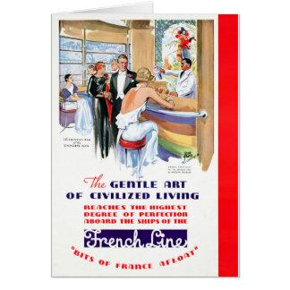 France French Line Restored Vintage Travel Poster Card