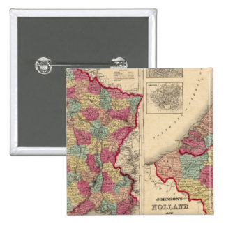 France Holland and Belgium 2 Inch Square Button