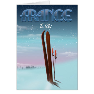 France 'ice' ski sports vacation poster card