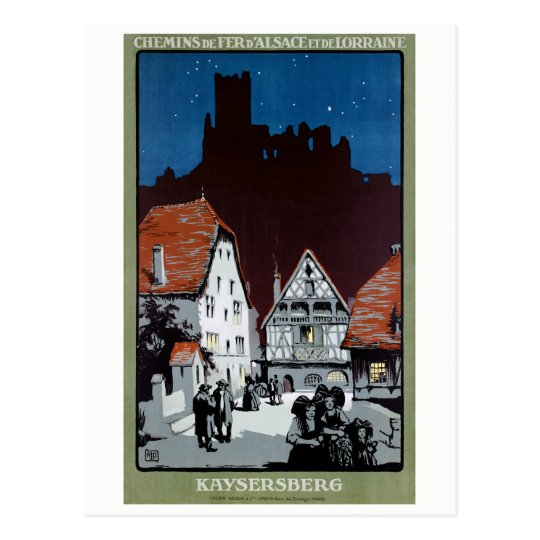 France Kaysersberg Restored Vintage Travel Poster Postcard