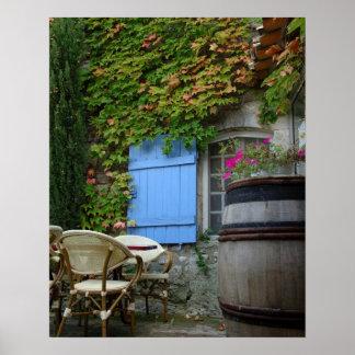 France, Les Baux de Provence, café patio Poster