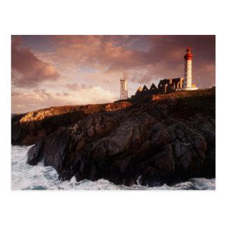 France, lighthouse at dawn postcard