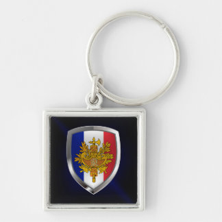 France Metallic Emblem Silver-Colored Square Keychain