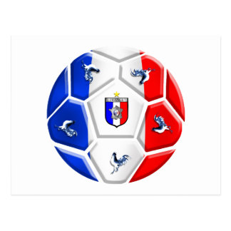 France modern soccer ball football flags postcard