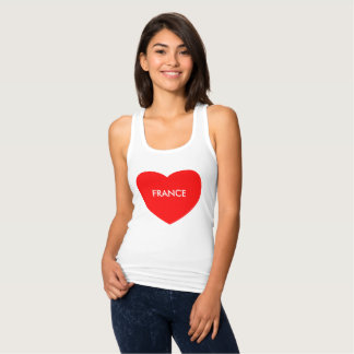 France on red heart print on Racerback Tank Top