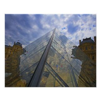France, Paris. Clouds reflect off the Louvre Poster