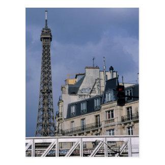France, Paris, Eiffel Tower behind metro train Postcard