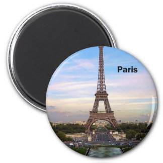 France Paris Eiffel Tower (by St.K) 2 Inch Round Magnet