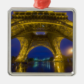France, Paris. Eiffel Tower illuminated at Silver-Colored Square Ornament