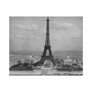 France,  Paris  Eiffel tower, retro  photo Canvas Print